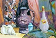 1 livstid fortfarande En målning som visar en stilleben, en vas, disk, a Arkivbild