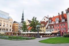 Livu Laukums fyrkant, gamla Riga royaltyfria foton