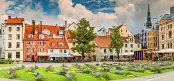 Livu square is a major tourist sightseeing of old Riga. Stock Images