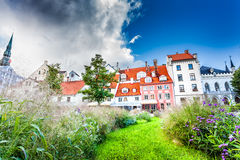 The Livu Square in Riga Old Town, Latvia Royalty Free Stock Image