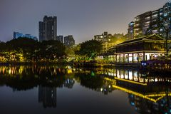 liwan парк озера на ноче Стоковые Изображения