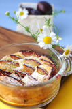 śliwkowy clafoutis pudding Fotografia Stock