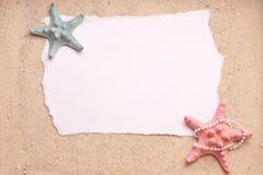 Lixe o fundo com sinal em branco de dois Starfish Fotografia de Stock Royalty Free