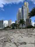 Lixo arrastado pelas marés no passeio fotos de stock royalty free