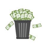 Lixo completamente do dinheiro ilustração stock