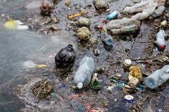 Lixo da garrafa plástica Imagem de Stock