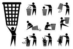 Lixo-escaninho, ícones ilustração stock