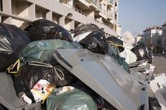 Lixo - funcionários camarários de Lyon na batida imagens de stock