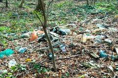 Lixo na poluição da natureza da floresta fotografia de stock royalty free