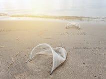 Lixo ou lixo plástico pela praia com alargamento do sol Poluição e para reciclar o conceito fotos de stock