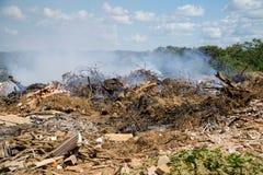 Lixo que queima-se em uma descarga da cidade foto de stock royalty free