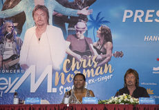 Liz Mitchell (Boney M) and Chris Norman (Smokie ex-singer) joining a press briefing Royalty Free Stock Image