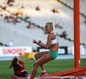 Liz Parnov from Australia celebrates silver medal Stock Photography