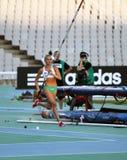 Liz Parnov van Australië viert zilveren medaille Stock Foto