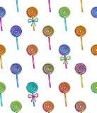 Lizaka bezszwowy wzór Cukierek na kiju z łękiem dla projekta Animacj ilustracje handwork Ornament dla tkanin Zdjęcie Royalty Free