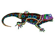 Lizard. Of the color elements in the ethnic style on a white background Stock Photo
