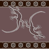 Lizard. A illustration based on aboriginal style of dot painting depicting lizard royalty free illustration