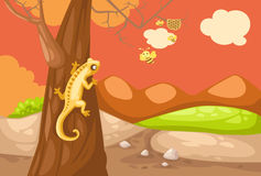 Lizard. Illustration of landscape lizard climbing on the tree Royalty Free Stock Photography