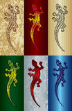 Lizard. Vector illustration of a running lizard with a different backgrounds Stock Images