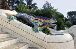 Lizard by Antoni Gaudi. Mosaic lizard, salamander by Antoni Gaudi in the park Guell in Barcelona - Spain royalty free stock image