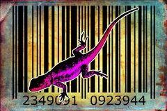 Lizard barcode animal design art idea. I am a traditional artist. This is digital painting and 3d software compilation. This is my own idea Stock Images