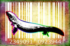 Lizard barcode animal design art idea. I am a traditional artist. This is digital painting and 3d software compilation. This is my own idea Royalty Free Stock Images