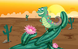 A lizard and the cactus plants Stock Images
