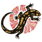 Lizard - Fiery Salamander and fire circle. Isolated on white, vector illustration Royalty Free Stock Photo