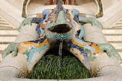 Lizard Fountain located in public Gaudi Parc Guell Stock Photos