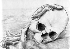 Lizard games. Two lizards playing hide and seek on the human skull in the deserted land. Symbol of life and death coexistence. Pencil drawing, sketch Stock Photography