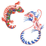 Lizard gekon and Basilisk (psychedelic) Royalty Free Stock Images