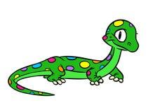 Lizard green rainbow spots cartoon illustration Stock Image