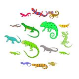 Lizard icons set, cartoon style. Lizard icons set. Cartoon illustration of 16 lizard vector icons for web Royalty Free Illustration