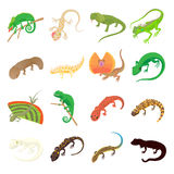 Lizard icons set, cartoon style Royalty Free Stock Image