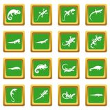 Lizard icons set green Stock Photography