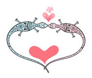 Lizard lovers. Fancy with hearts on white background vector illustration