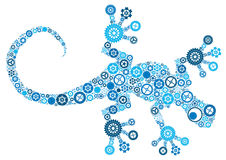 Lizard made of cogs, nuts and bolts. Royalty Free Stock Photo