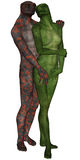 Lizard man and woman lovers Stock Photo
