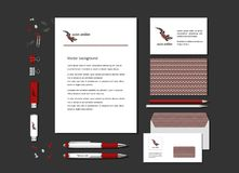 Lizard and ornaments in ethnic style. The bright corporate identity with a lizard and ornaments in ethnic style. Samples of business cards, a flash card, a pen Royalty Free Illustration