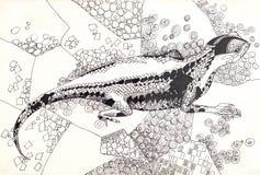 Lizard pen drawing. Monochrome sketch Stock Image