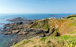 The Lizard peninsula Cornwall England UK south of Helston in summer on calm blue sea sky day Royalty Free Stock Image
