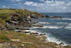 Lizard Point near Lizard Cornwall, UK. The Lizard (Cornish: An Lysardh) is a peninsula in southern Cornwall, England, United Kingdom. The most southerly point of Stock Photos