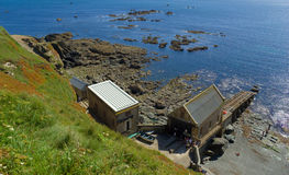 Lizard Point Old Lifeboat Stat. Looking down at Lizard Point Old Lifeboat Station in Cornwall UK Royalty Free Stock Photography