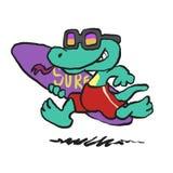 Lizard running with surfboard vector illustration