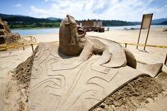 Lizard sand sculpture Stock Photography