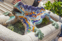 Lizard sculpture in barcelona park guell Stock Photos
