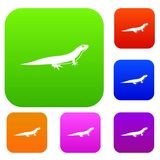 Lizard set collection. Lizard set icon in different colors isolated vector illustration. Premium collection Royalty Free Stock Photos