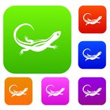 Lizard set collection. Lizard set icon in different colors isolated vector illustration. Premium collection Stock Photography