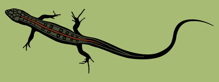 Lizard silhouette shape with colored scales on green background Royalty Free Stock Image