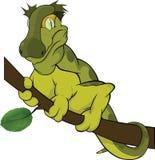Lizard on a tree branch. Cartoon Vector Illustration